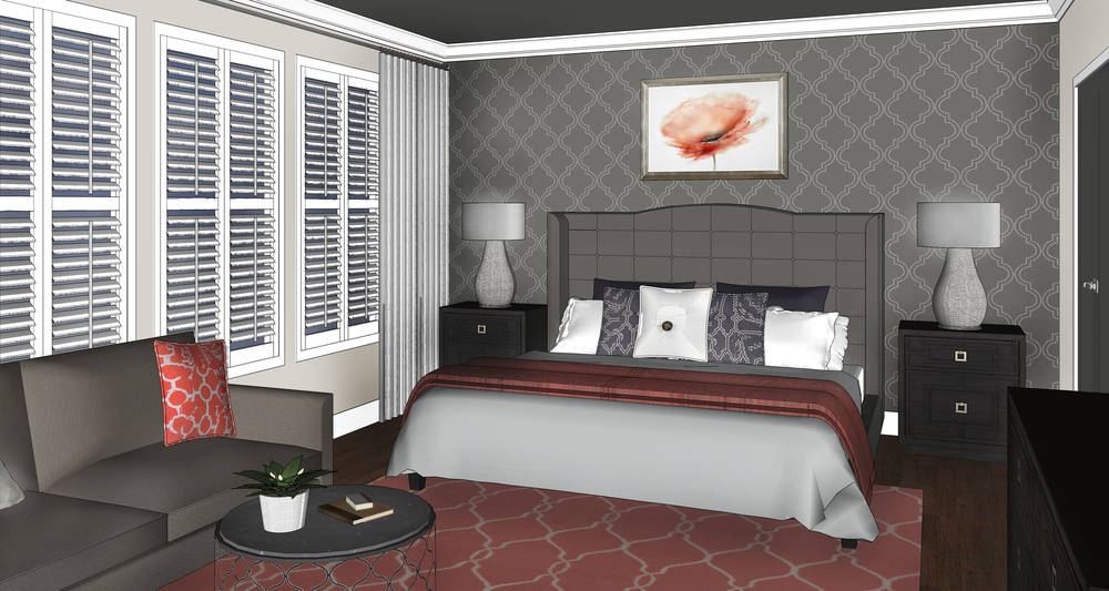 3D Rendering - Master bedroom Design - Marilyn Ashley Design Assc.