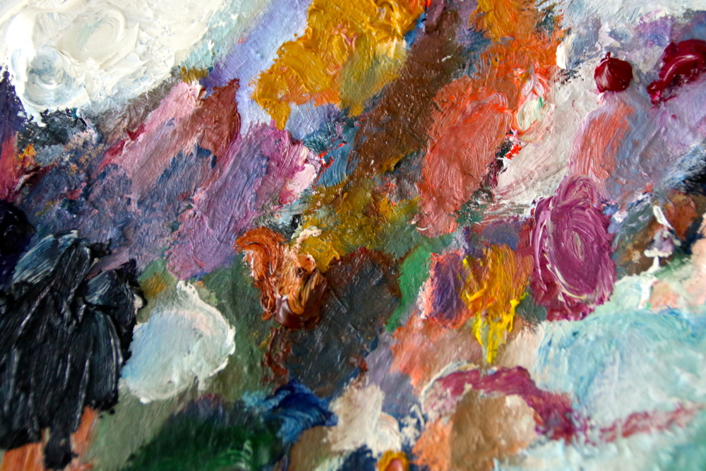 My oil palette is out of control! But I love the colors and texture it builds over time.