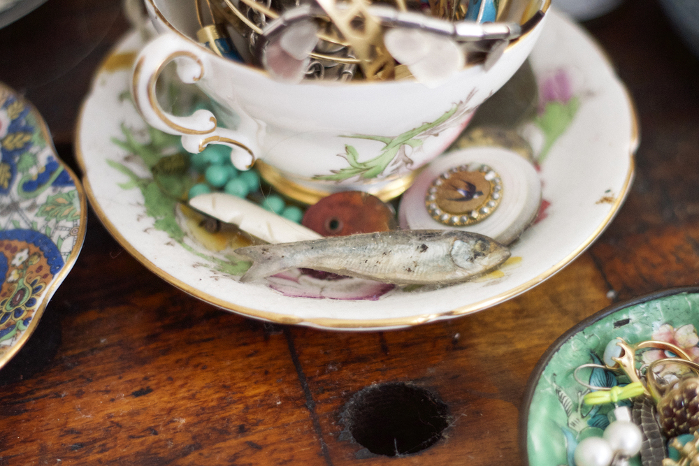 All the teacups in the bedroom were collected for me by my mom and grandmothers when I was little.