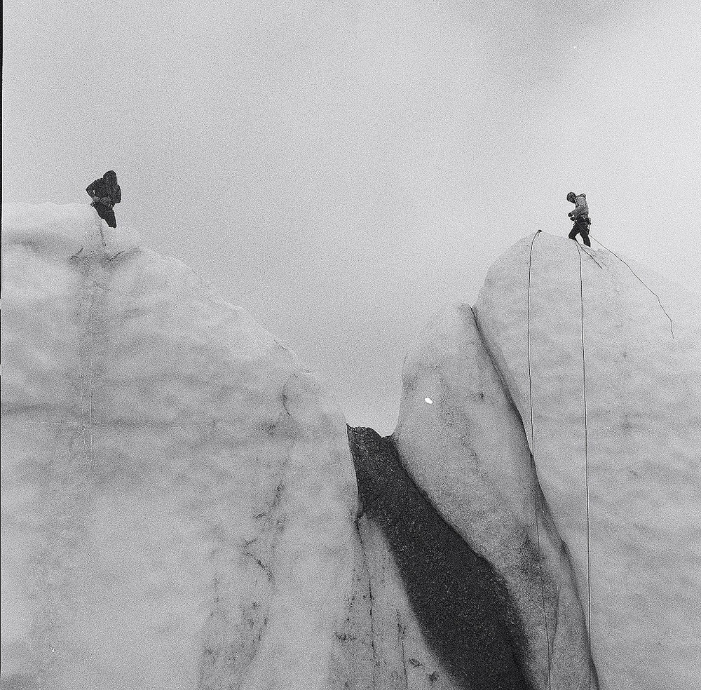 Ice wall on Matanuska Glacier, Josh and Chelsea from AMS setup fixed ropes to practice Glacier Rescue techniques, August 2015. Delta 400, Hasselblad 500C/M, 50mm Distagon