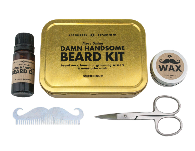2. Damn Handsome Beard Grooming Kit: If your razor is on strike and your growing a face warming accessory then you need to keep that beard groomed my friend.  This kit comes with a damn good beard oil and mustache wax, a stainless steal comb in the shape of a moustache and a great little pair of scissors for those pesky and disobedient hairs that won't stay in place.