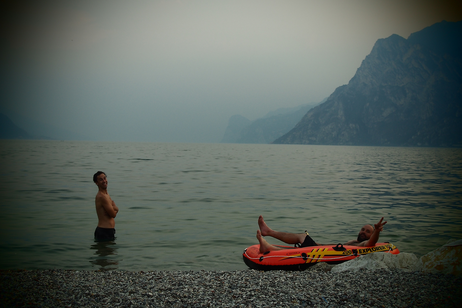 Sven & Andy lounging in the  lake.