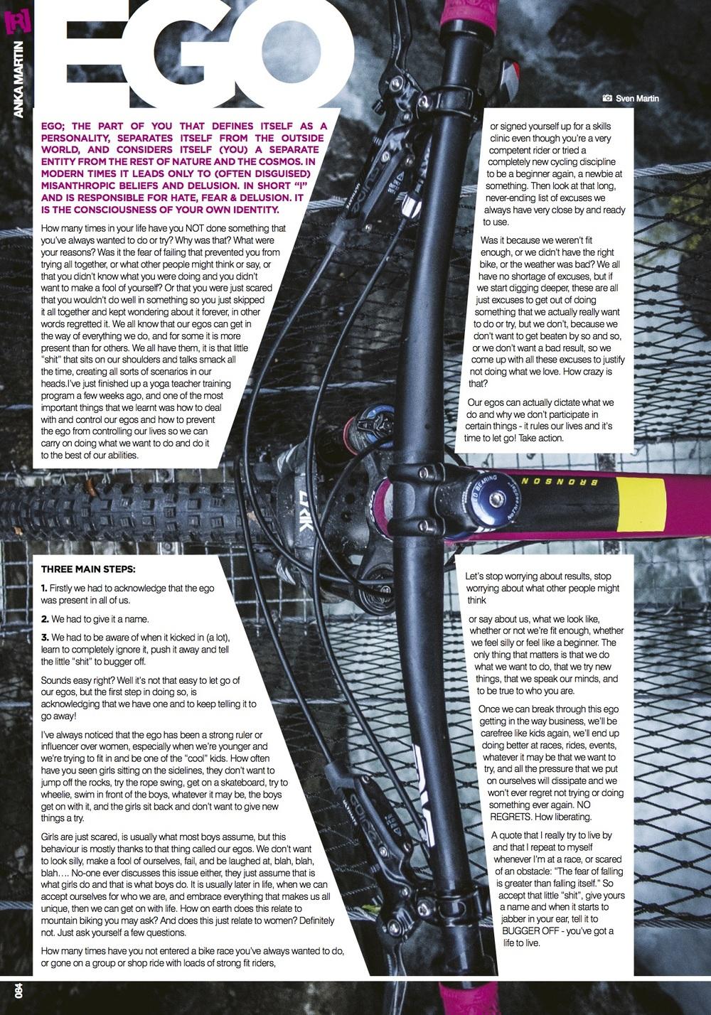 EGO - column in Revolution Mag AUS AUG 2016