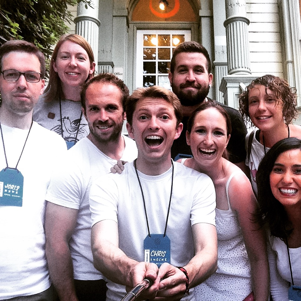 Our crew from the hostel, decked out in white and ready for some closing party action! #selfiestick