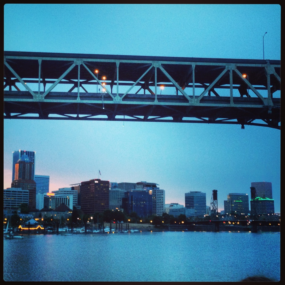 Instagrammed shot of the Portland skyline from the Spirit River Cruise, including a quintessential bridge