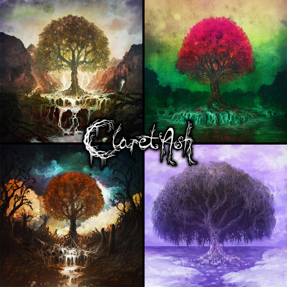 Four individual paintings created for Claret Ash.