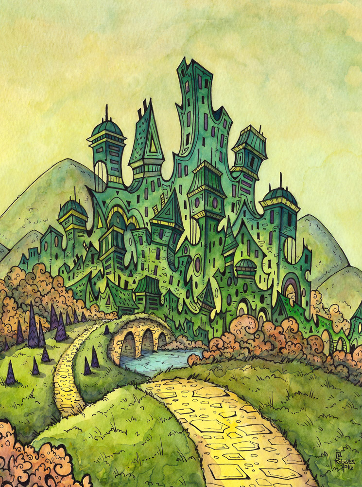 Emerald City - watercolor and Pen
