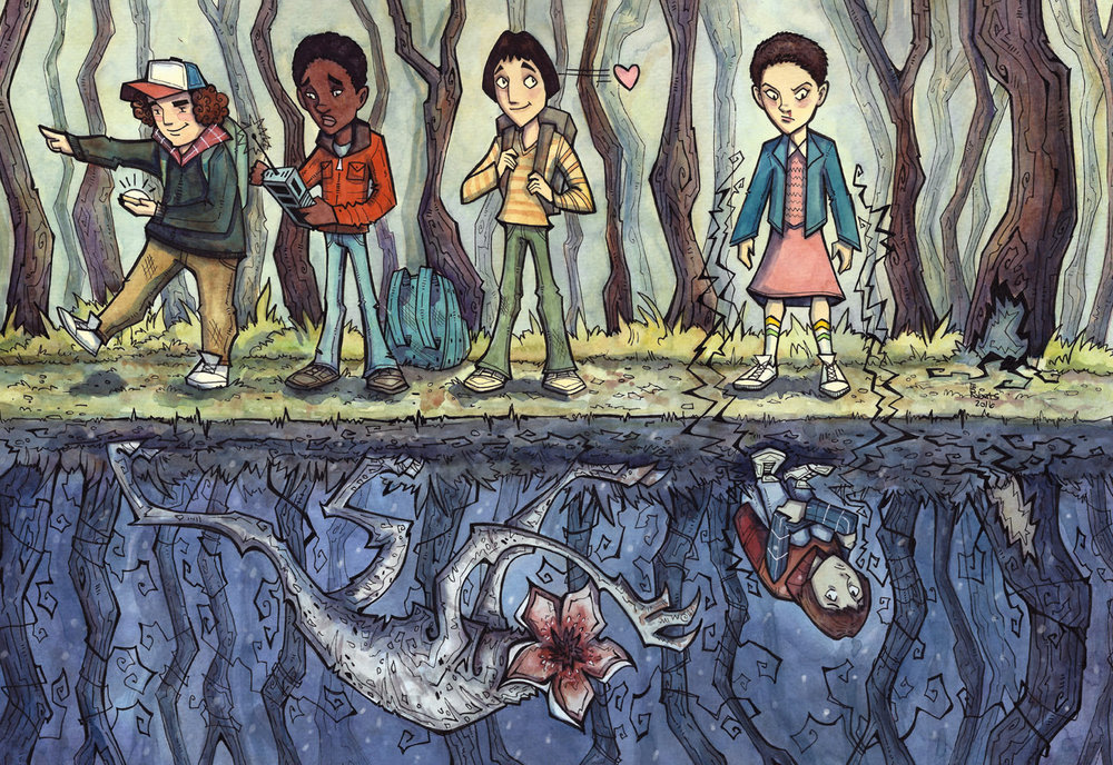 Stranger Things - watercolor and pen