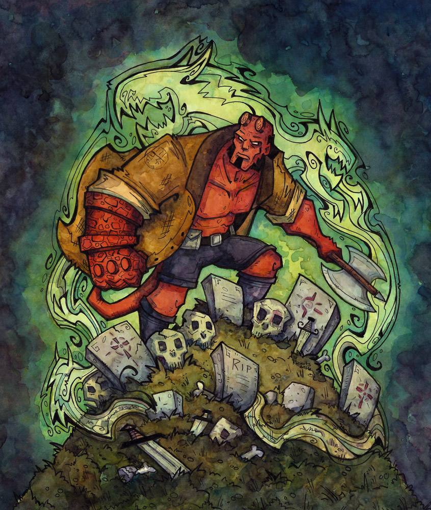 Hellboy - watercolor and Pen