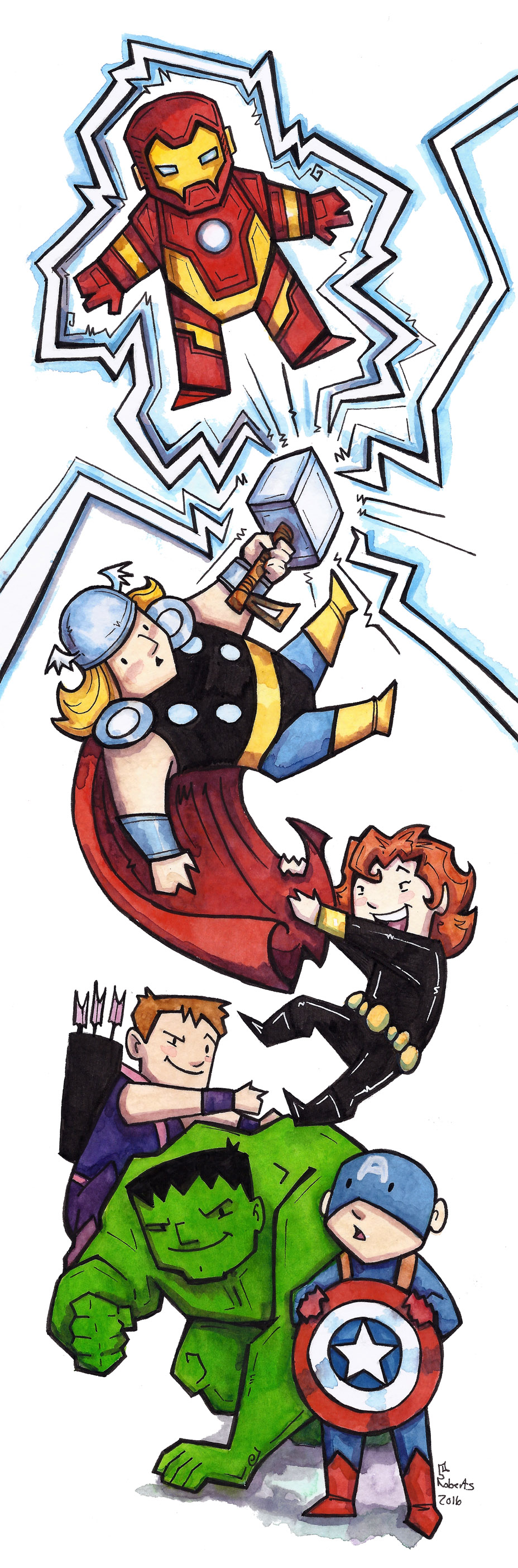 "Avengers - (fanart watercolor) 6""x 17.5"" - $75 + shipping  This is a cropped Image of the original)"