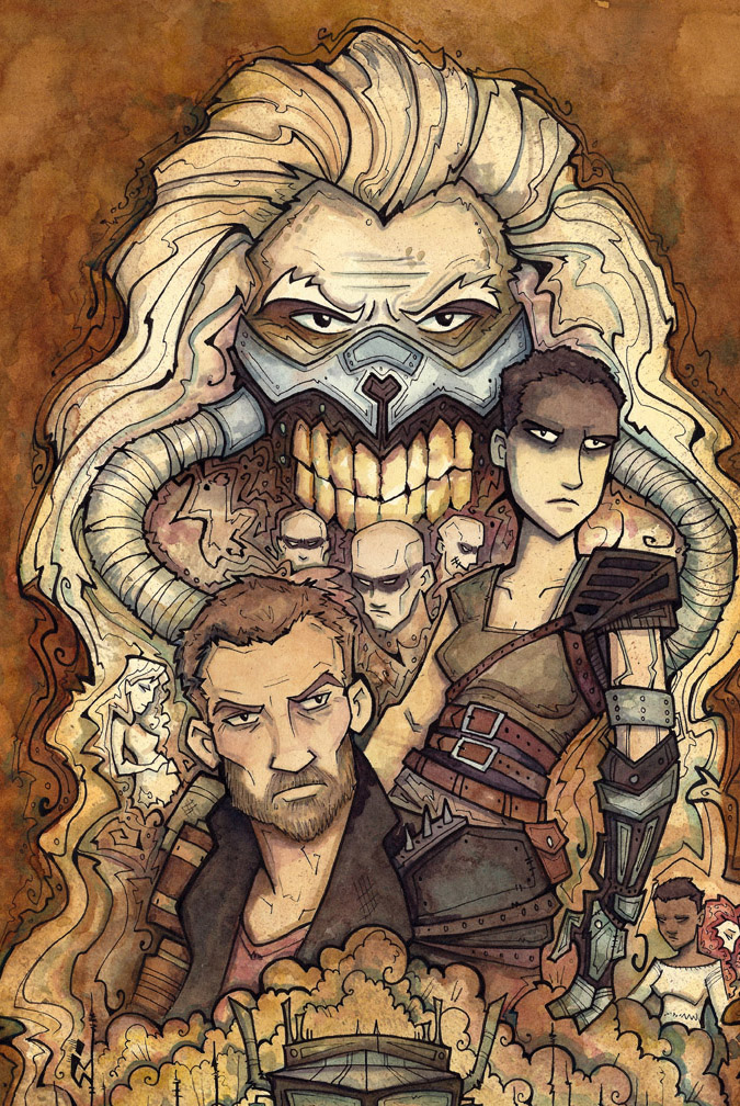 "Mad Max (fanart watercolor) 12.25""x 19.5"" - $225 +shipping  (This is a cropped image of the original)"