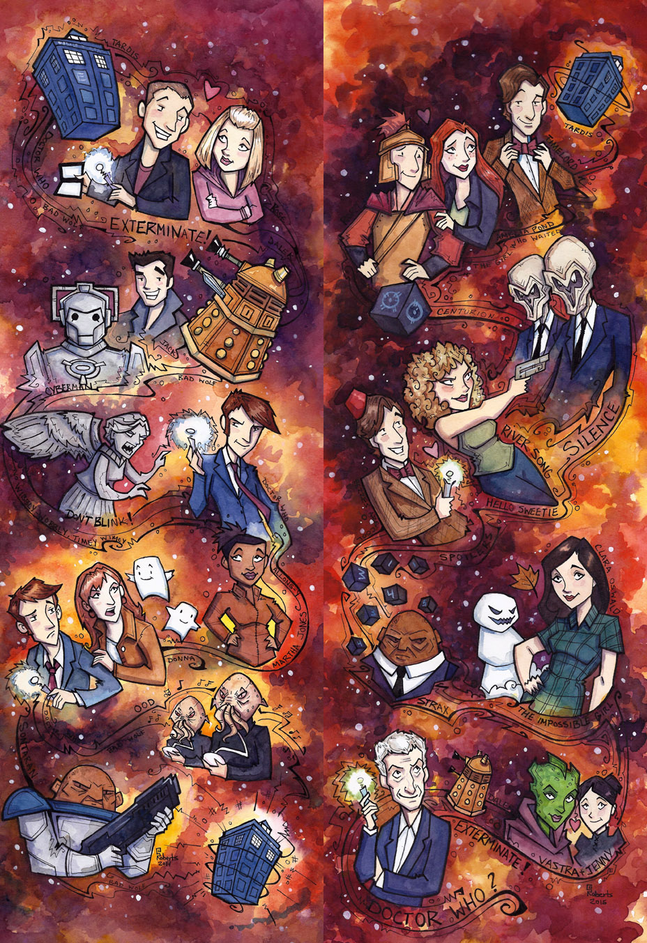 Doctor WHo, 9-12 (2 pieces - Fanart Watercolors) $150 each - email me for sizes oF each and details. (This is a cropped Image of the original)