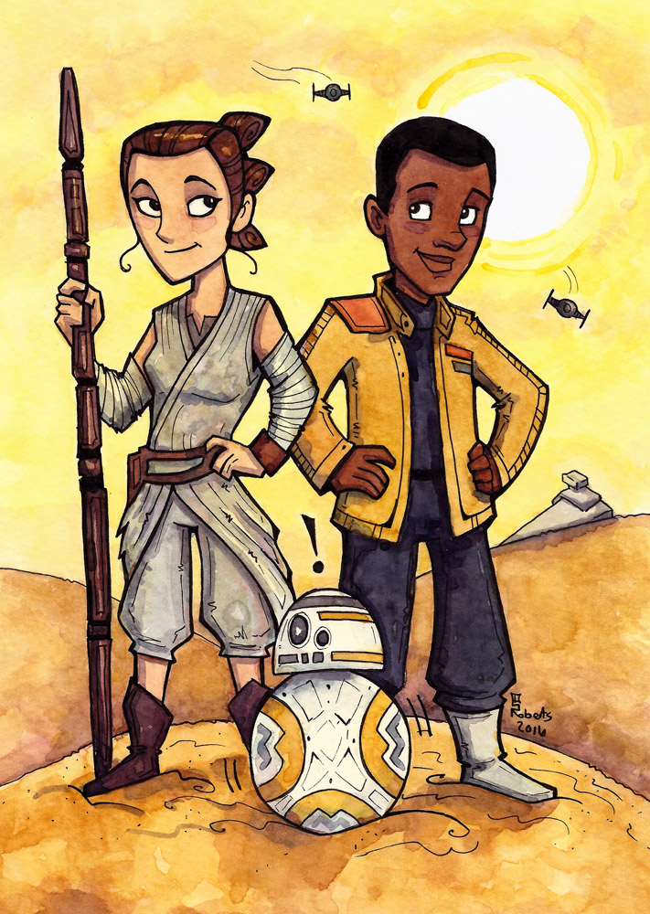 "Force Awakens - (Fanart WAtercolor) 8.5"" x 11"" - $60+shipping (this is a cropped image of the original)"