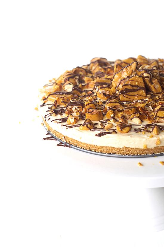 No Bake Caramel Cheesecake Slice with Peanut Brittle ...