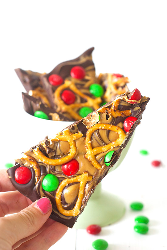 Chocolate Peanut Butter Pretzel Candy Bark made with just four ingredients | Sweetest Menu