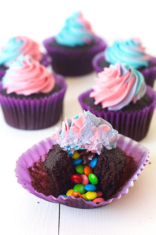 Surprise Cupcakes with Rainbow Frosting — Sweetest Menu