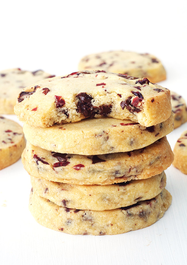Chocolate Cranberry Shortbread Cookies — Sweetest Menu