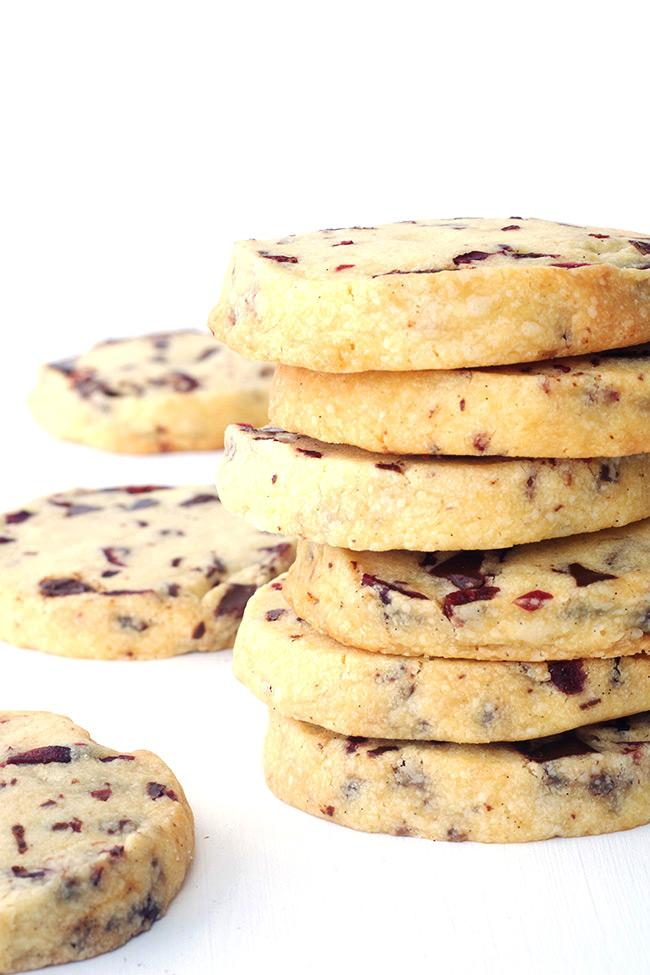 Dark Chocolate Cranberry Shortbread Cookies
