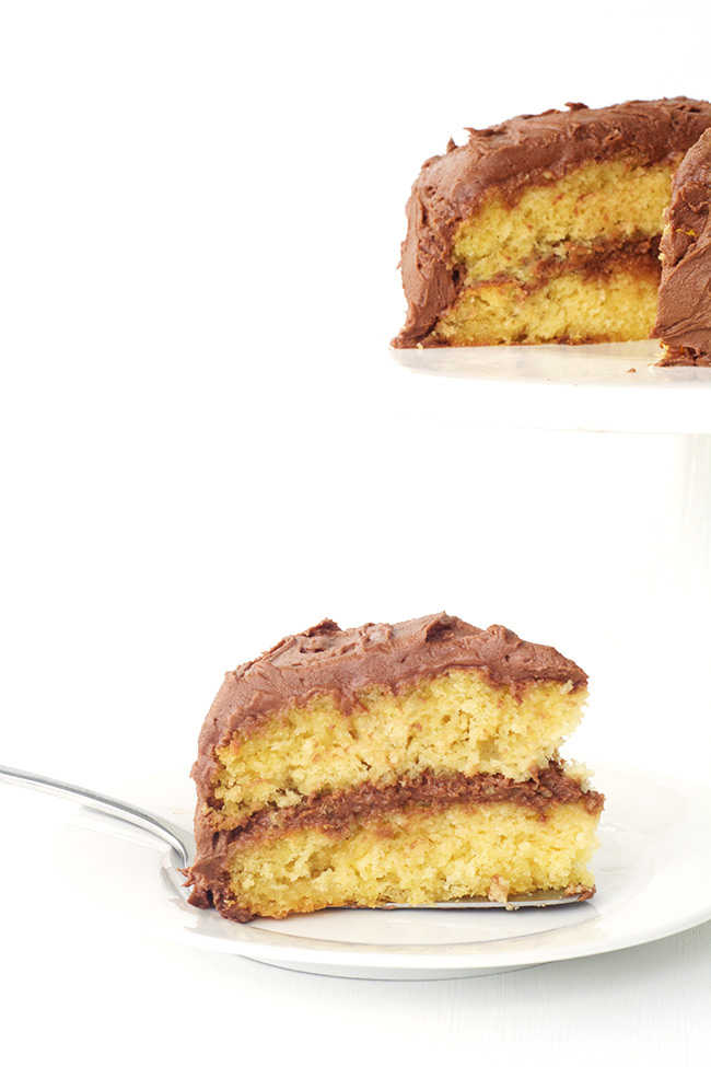 Easy yellow cake with the BEST Nutella fudge frosting