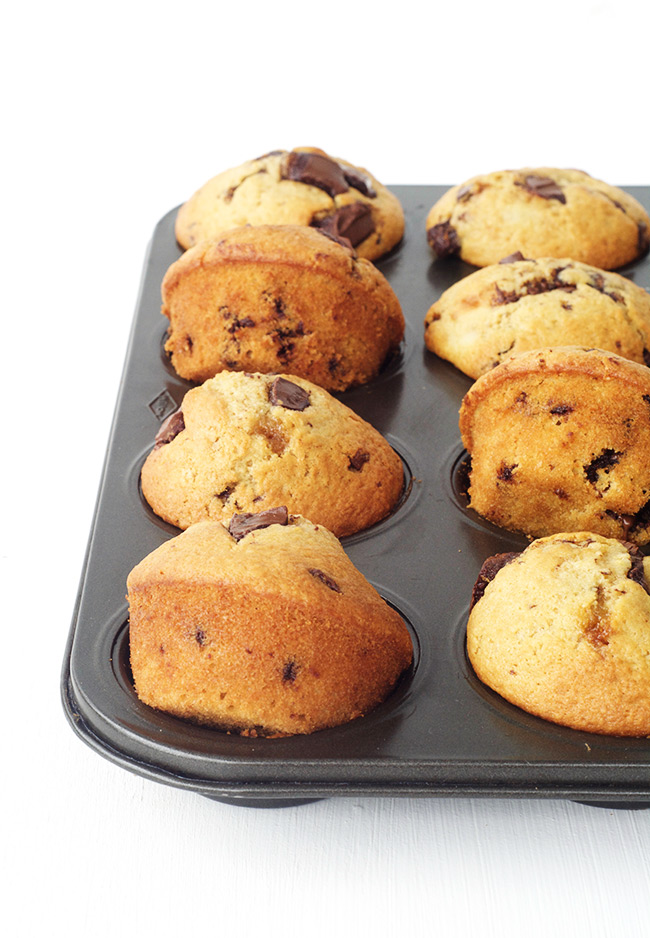 The BEST homemade high top Chocolate Chip Muffins