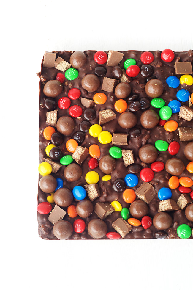 Candy Crunch Chocolate Bars with Rice Krispies