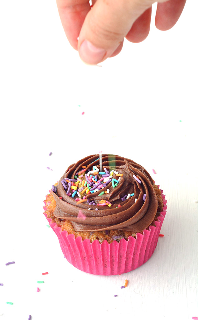 Perfect Funfetti Vanilla Cupcakes with Chocolate Buttercream Frosting