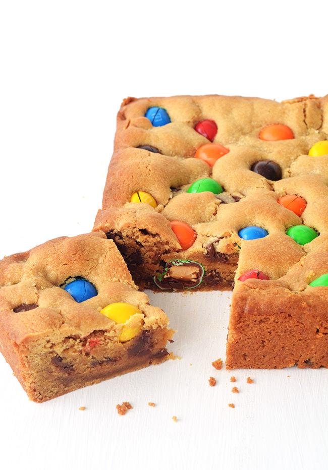 M&M Peanut Butter Cookie Bars | Sweetest Menu