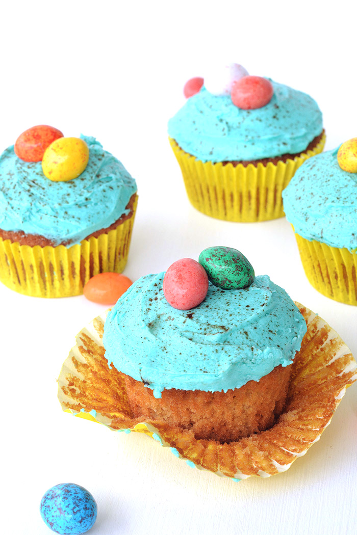 Light and fluffy Vanilla Cupcakes topped with gorgeous Speckled Egg buttercream - the perfect Easter treat!