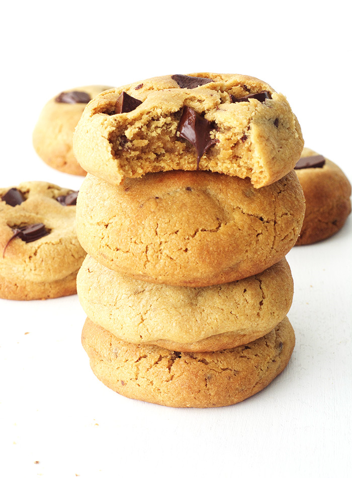 The perfect Peanut Butter Chocolate Cookie! Thick, buttery and filled with chocolate!