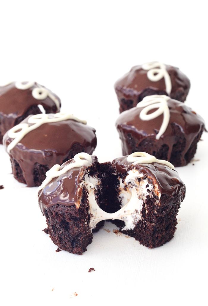 Copycat Ding Dong Chocolate Cupcakes | Sweetest Menu