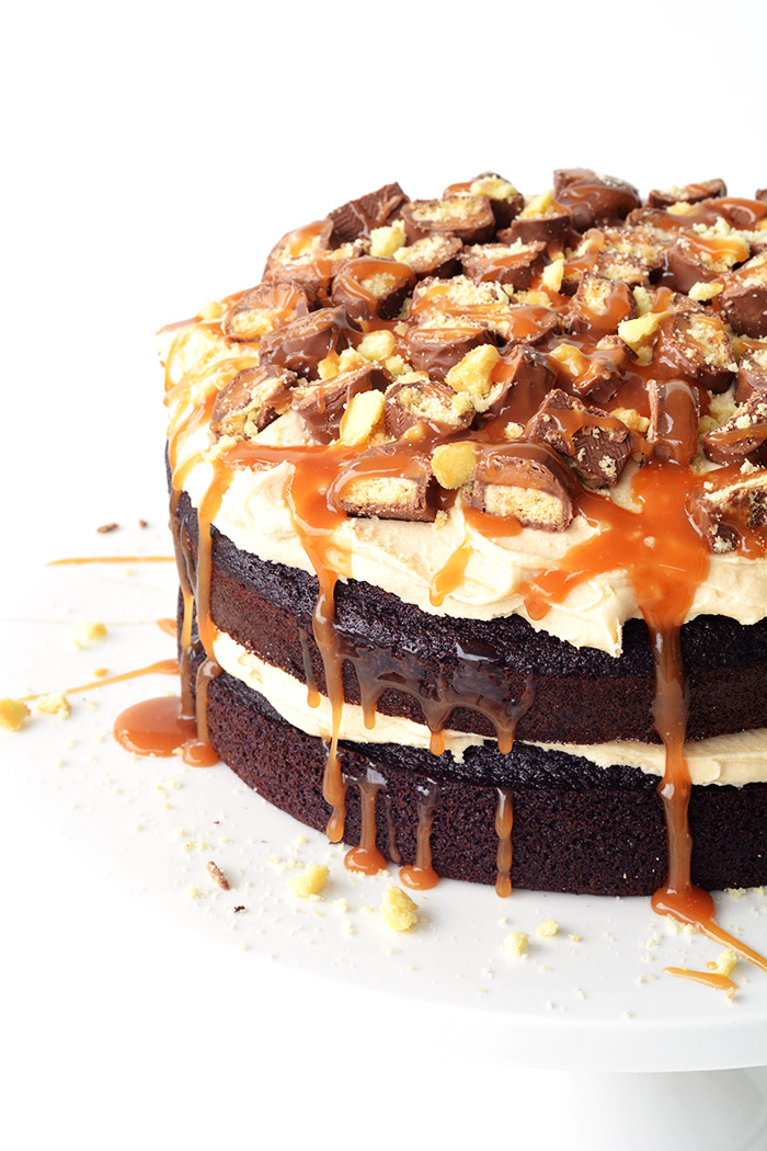 Twix Chocolate Layer Cake with caramel frosting!