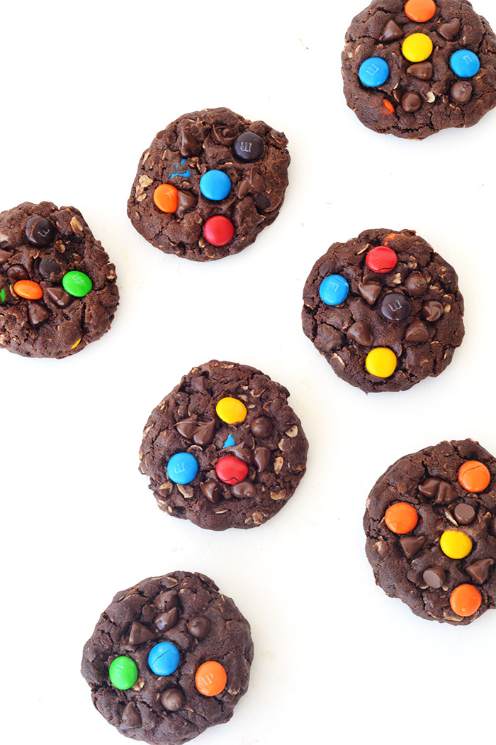 Chunky Chocolate Peanut Butter M&M Monster Cookies | Sweetest Menu