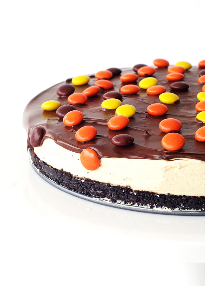 No Bake Reeses Pieces Peanut Butter Cheesecake with an Oreo crust | Sweetest Menu