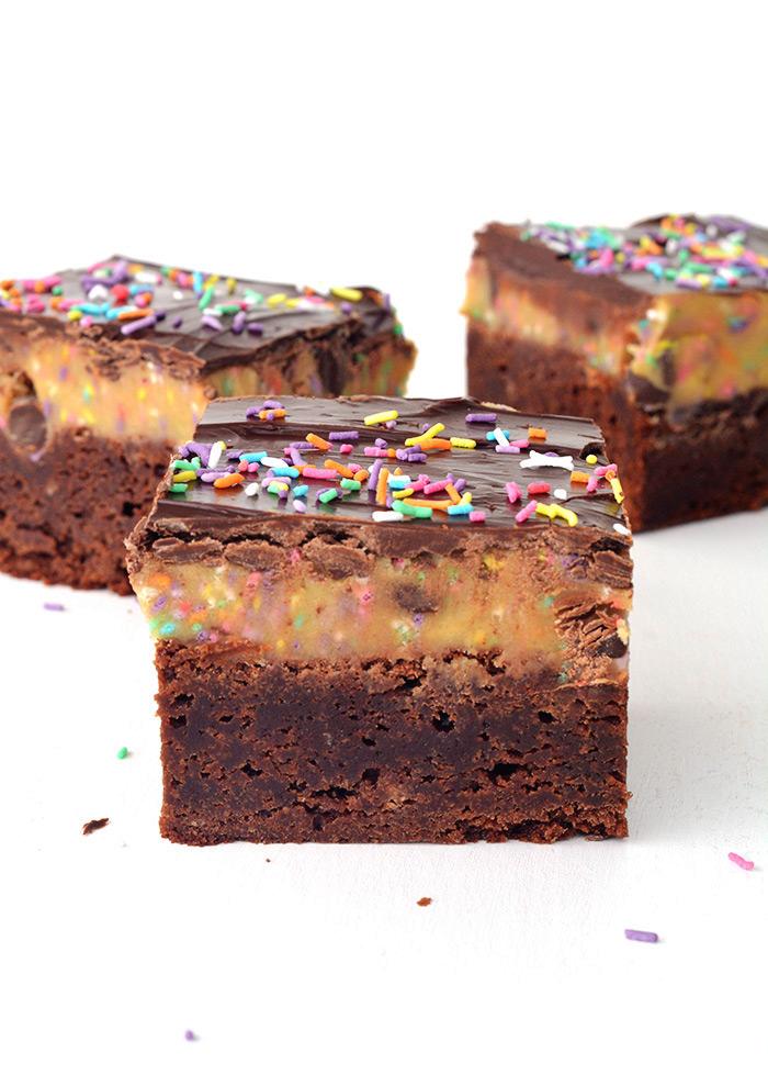 Funfetti Cookie Dough Chocolate Brownies | Sweetest Menu