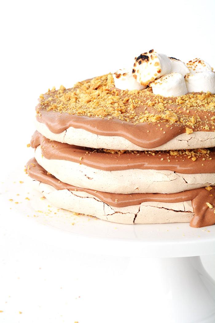 Smores Chocolate Meringue Layer Cake | Sweetest Menu