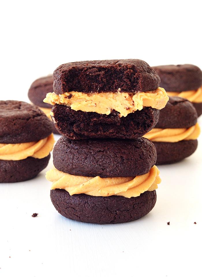 Chocolate Peanut Butter Cookie Sandwiches | Sweetest Menu