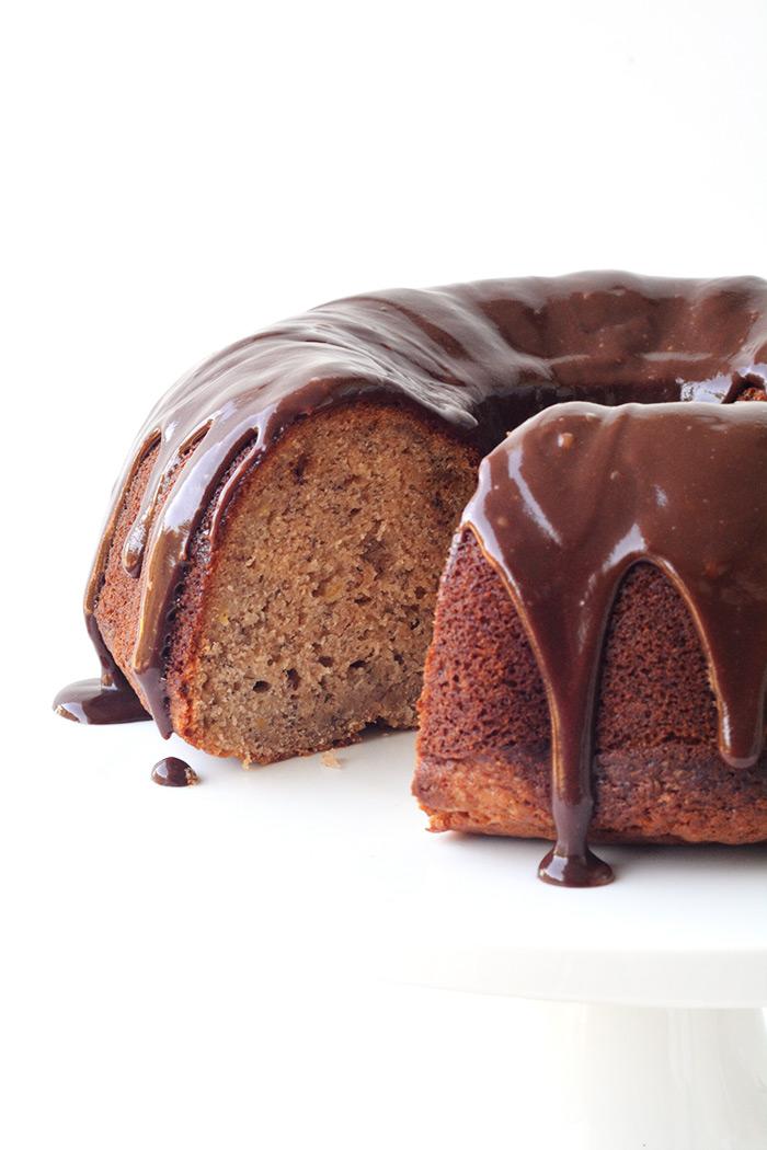 Banana Bundt Cake with Nutella Ganache | Sweetest Menu