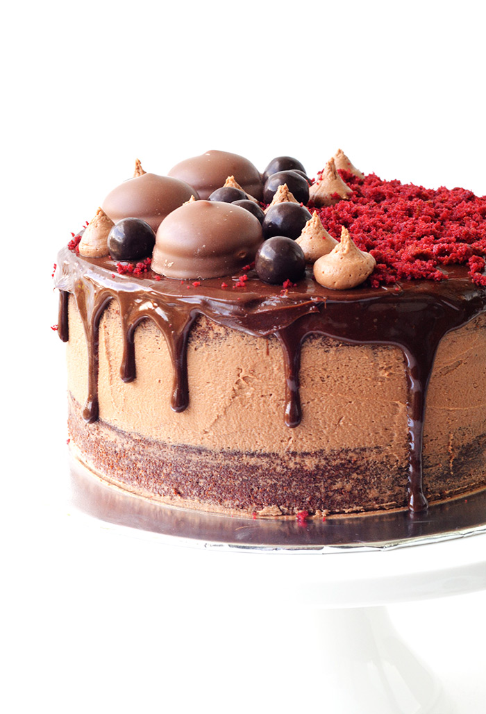 Big beautiful Red Velvet Layer Cake with chocolate frosting | Sweetest Menu