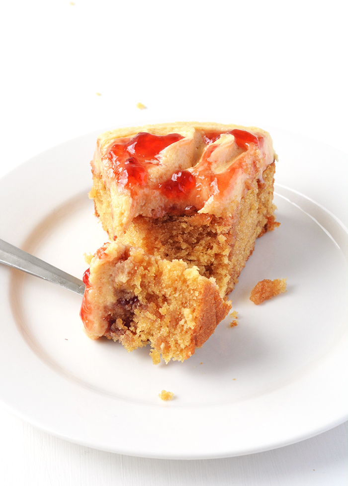 Peanut Butter and Jelly Poke Cake | Sweetest Menu