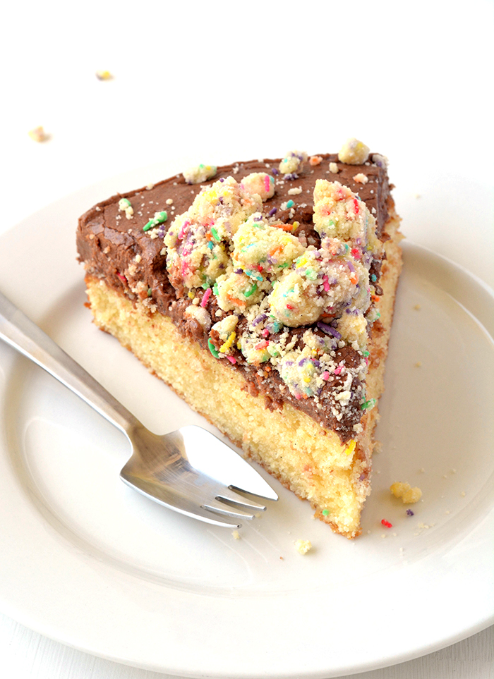 The BEST yellow cake with sour cream chocolate frosting and homemade funfetti crumbs | via sweetestmenu.com