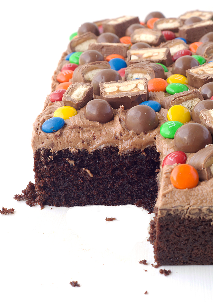 Candy Covered Chocolate Cake - perfect for a birthday party | via sweetestmenu.com