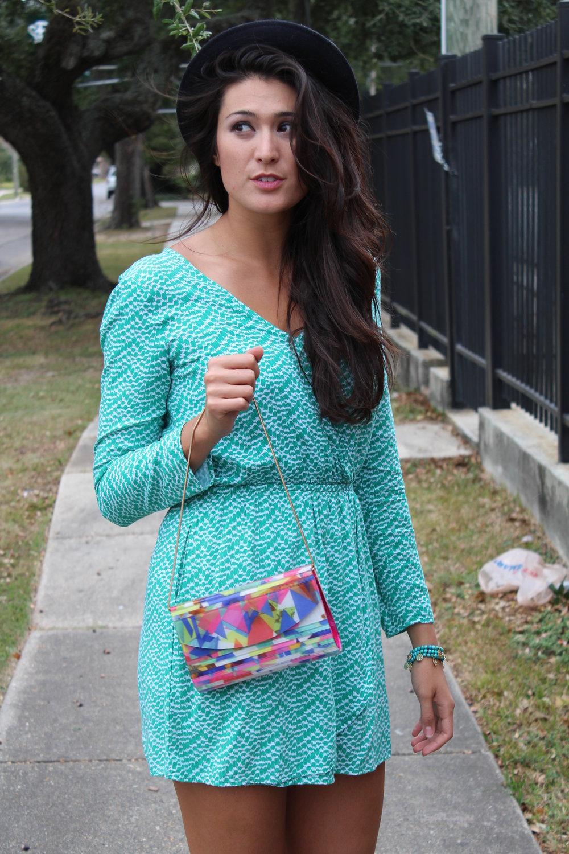 Sondra Roberts, Acrylic Printed Clutch ($15) -- Splendid, Chevron Wrap Dress ($29) -- Jessica Simpson, Coin Stretch Bracelet ($28)