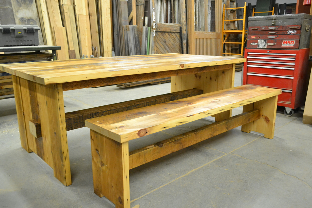 FoundRe's mission-inspired reclaimed table and matching bench.