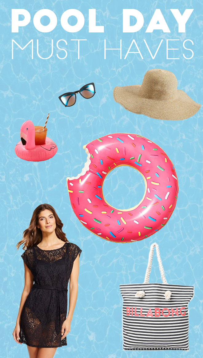 vacation must haves pool day essentials donut floaty sunglasses floppy hat
