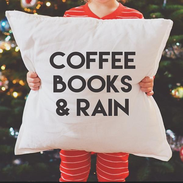 Reading Space must haves Reading Nook Reading Area Book Lover dreams coffee books & rain pillow