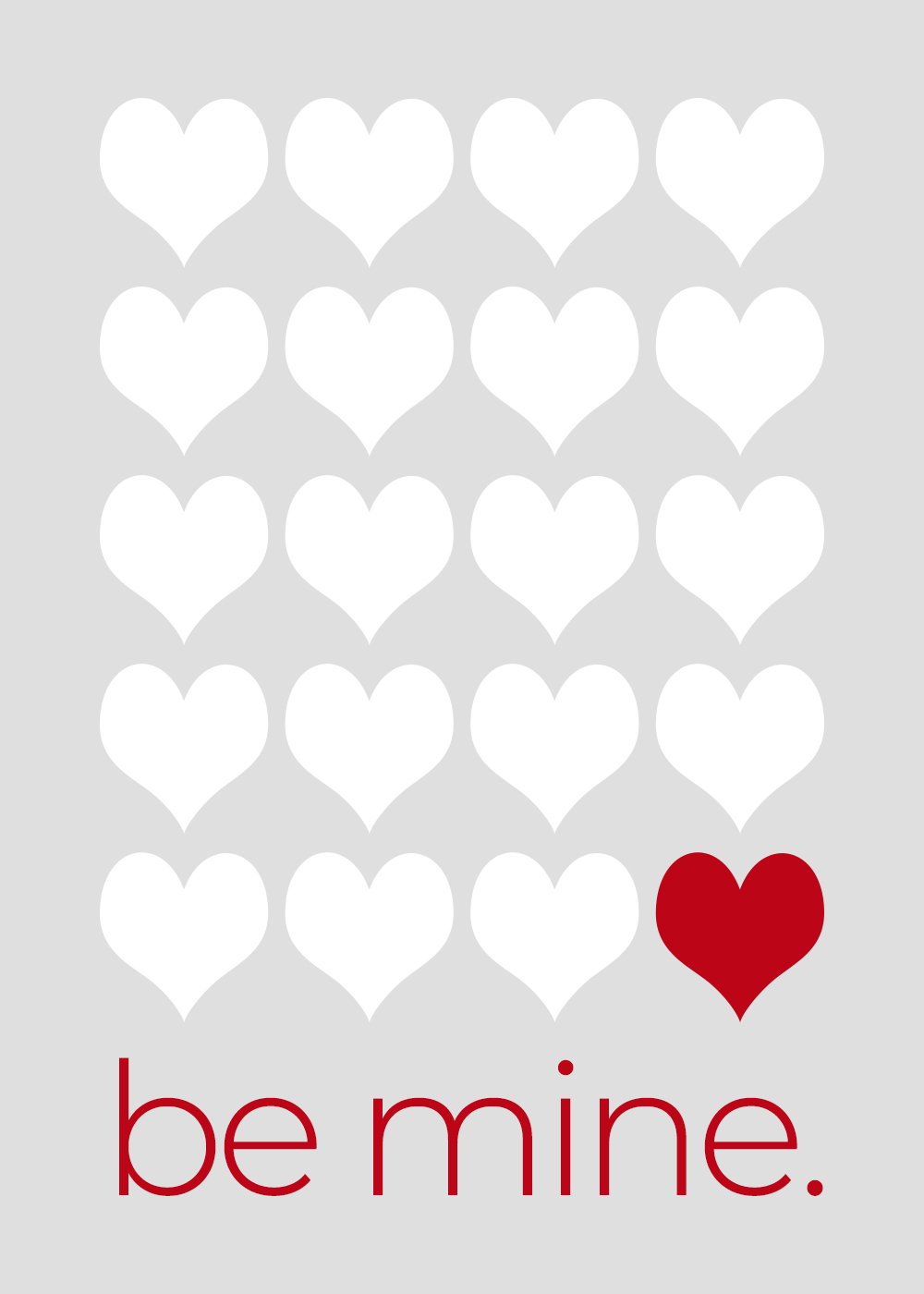 Valentines Day free printable be mine card