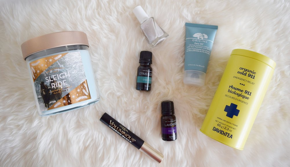 December favorites essential oils tea makeup review candles