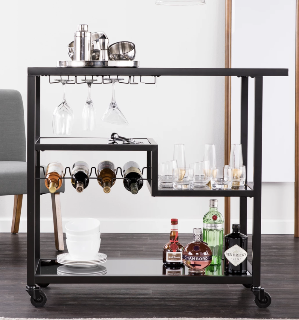 Bar cart off wedding registry