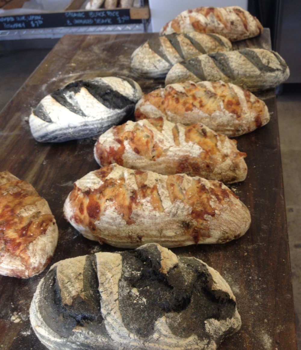 The Organic Activated Charcoal Sourdough and the Grana Padano Sourdough (a parmesan).