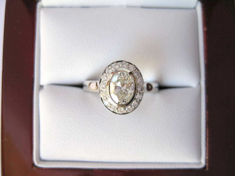 18ct w gold oval diamond engagement ring and wedder. Nick & Kate 017.jpg